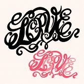 Symbol of love and Valentines day lettering