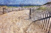 Path with beach fence on Cape Cod