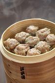 shumai, shaomai, chinese food in bamboo steamer