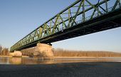Vamosszabadi, Hungary - February 13, 2014: The Vamosszabadi Bridge Over Danube River