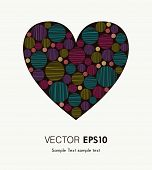 Bright colorful heart with striped rounds for design and decoration