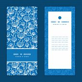 Vector blue white lineart plants vertical frame pattern invitation greeting cards set