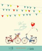 picture of tandem bicycle  - Postcard invitation to the wedding - JPG
