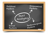 detailed illustration of a blackboard with a PEST analysis explanation, eps10 vector, gradient mesh included