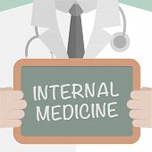 minimalistic illustration of a doctor holding a blackboard with Internal Medicine text, eps10 vector