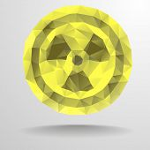 detailed illustration of a polygon radiation sign, eps10 vector