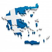detailed illustration of a map of greece with flag, eps10 vector