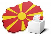 stock photo of macedonia  - detailed illustration of a ballotbox in front of a map of Macedonia - JPG