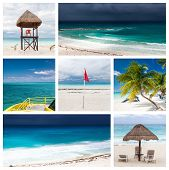 Collage With Lifeguard In Stormy Weather At Cancun