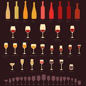 picture of alcoholic beverage  - vector red and white wine glasses and bottle types - JPG
