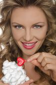 Beautiful Young Woman With Ice Cream And Heart