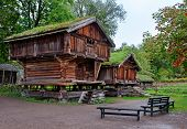 Traditional Norwegian House with grass roof.