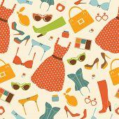 Fashion elements seamless pattern