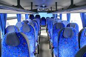 stock photo of motor coach  - Photo of an Interior of a modern interurban coach - JPG