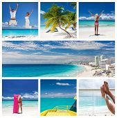 Collage With Different Views Of Cancun