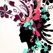 Fashion Background With Female Face And Floral Hair