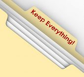 foto of receipt  - Keep Everything words stamped on a manila folder to illustrate the need to retain documents such as receipts and tax returns or records for future referene such as audits - JPG