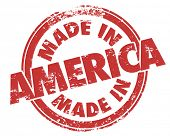 picture of manufacturing  - Made in America words in a round red stamp in grungy design to illustrate or advertise a product made or manufactured by a company in the United States - JPG