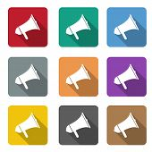 Megaphone Flat Icon Set. Vector Flat Color Speaker Or Sound Icon