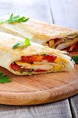 picture of sandwich wrap  - Wrap sandwich with chicken cheese and tomato filling - JPG