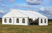 stock photo of tent  - White tent for amusement at the summer suburban camp - JPG