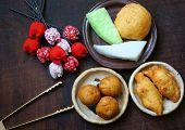 stock photo of sponge-cake  - Group of Vietnam street food - JPG