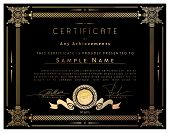 Vintage Certificate Template With Detailed Border And Calligraphic Elements On Black Paper With Gold