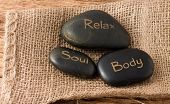 Relax, Soul, Body Three Lava Stones On Jute Cloth