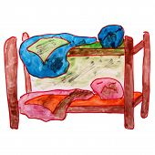 stock photo of bunk-bed  - watercolor drawing children bed - JPG