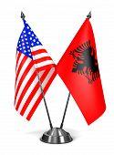 USA and Albania - Miniature Flags.