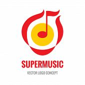 Super Music - vector logo concept illustration. Music note logo. Abstract music logo. Melody logo. A