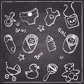 Chalkboard style newborn baby  icons