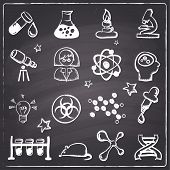 Chalkboard style science icons