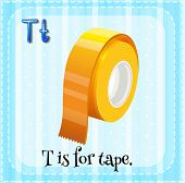 Illustration of a letter T is for tape