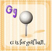Illustration of a letter G is for golf ball