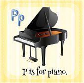 Illustration of a letter P is for piano