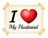 Illustration of a sign saying i love my husband