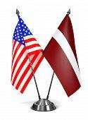 USA and Latvia - Miniature Flags.