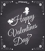 Chalkboard style valentines day card  with cupid
