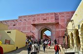 Jaipur, India - December 29, 2014: People Visit The City Palace In Jaipur