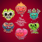 Cartoon Valentine Hearts Set