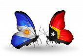 Two Butterflies With Flags On Wings As Symbol Of Relations Argentina And East Timor