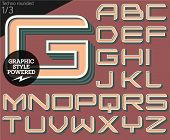 Vector illustration of an old fashioned alphabet. Techno rounded. Set 1