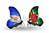 Two Butterflies With Flags On Wings As Symbol Of Relations Argentina And Dominica
