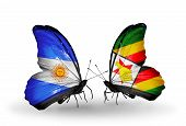 Two Butterflies With Flags On Wings As Symbol Of Relations Argentina And Zimbabwe