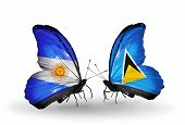 Two Butterflies With Flags On Wings As Symbol Of Relations Argentina And Saint Lucia
