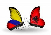 Two Butterflies With Flags On Wings As Symbol Of Relations Columbia And Albania
