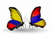 Two Butterflies With Flags On Wings As Symbol Of Relations Columbia And Armenia