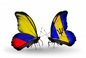 Two Butterflies With Flags On Wings As Symbol Of Relations Columbia And Barbados