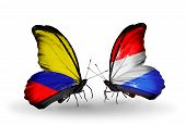 Two Butterflies With Flags On Wings As Symbol Of Relations Columbia And Luxembourg